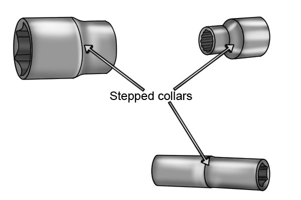 Stepped collars on three different sockets