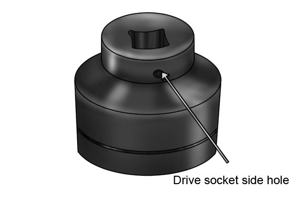 The drive socket side hole helps secure the socket to the turning tool