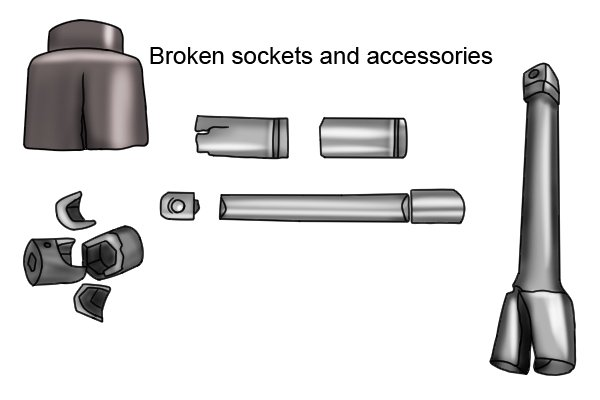 If standard sockets and accessories are used with an impact wrench they can break or shatter as the matterial from which they are made is too brittle to cope with the impact forces.