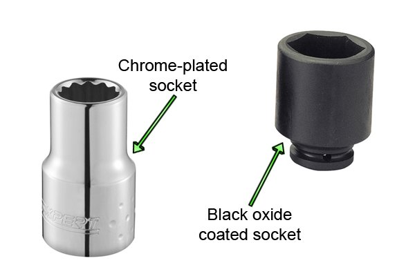 Chrome plated socket and black oxide coated socket