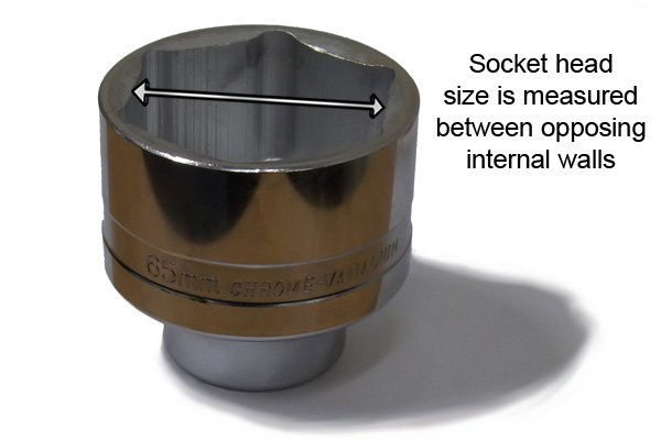 Socket head sizes are measured across opposing internal walls