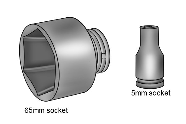 Sockets come in made different sizes, 5mm socket and 65mm socket