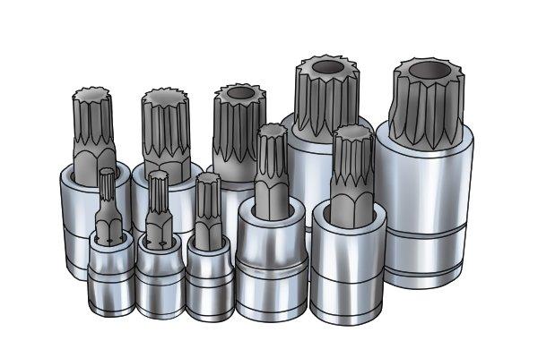 Set of spline In-Hex sockets