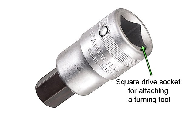 Square drive socket for attaching a turning tool