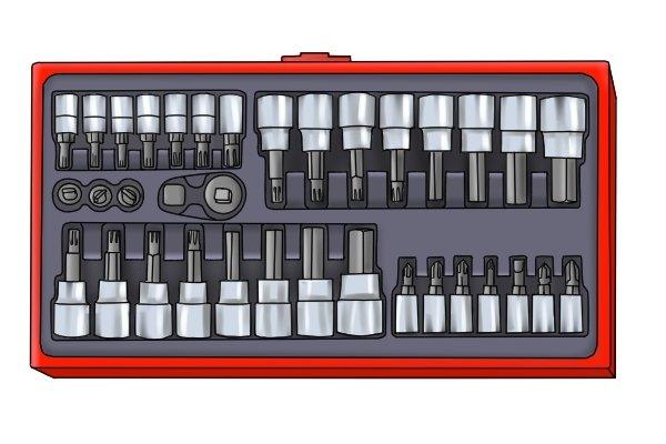 Socket bit set showing sizes of socket bits