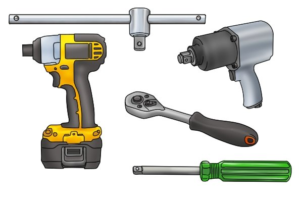 Selection of different turning tools, including sliding T-bar, Electric impact driver, Pneumatic Impact wrench, Ratchet wrench and spinner handle