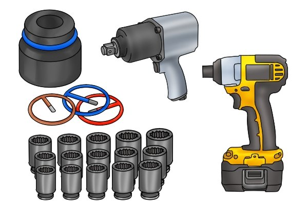 Powered impact wrenches and impact sockets