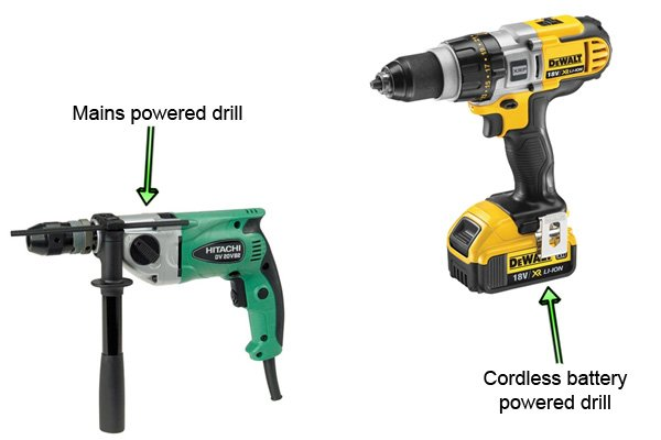 Electric drills can be either mains or battery powered