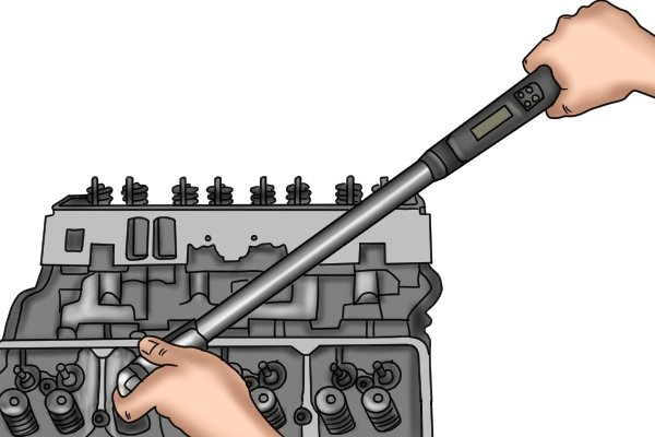 Using a didgital torque wrench to assemble an engine