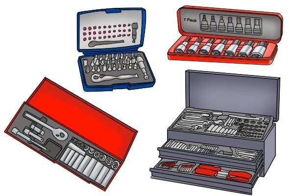 Socket sets come in a huge range of different sizes some contain just sockets while others contain accessories and other tools as well