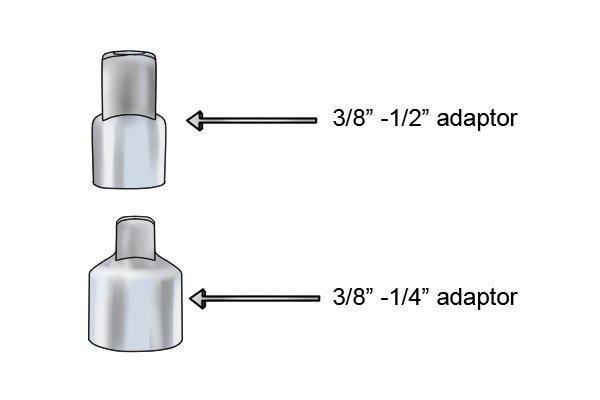 "Drive adaptors, 3/8"" - 1/2"" adaptor, 3/8"" - 1/4"" adaptor"