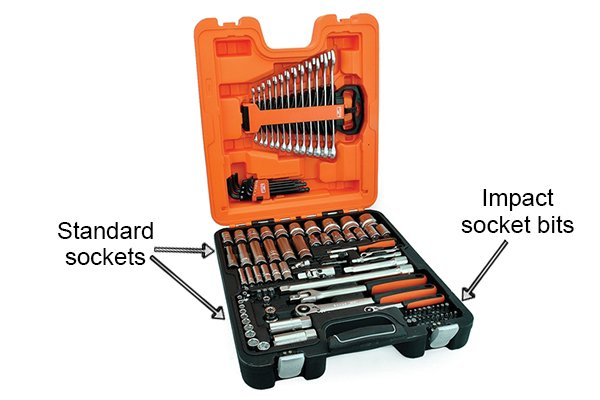 Socket sets that contain both standard sockets and impact sockets are rare and will usually have fewer impact sockets compared to standard sockets included in them