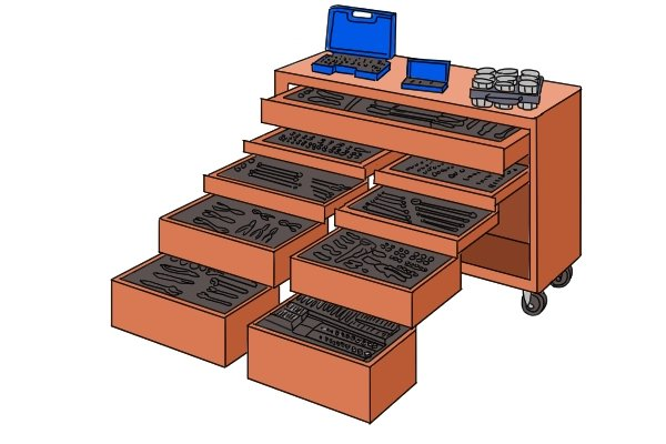 Very large socket sets like this 573 Piece set will often include many other tools as well and come in a large storage trolley