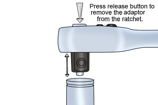 Press release button to remove the adaptor from the ratchet.