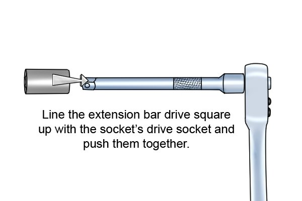 Connecting a socket to an extension bar and a ratchet