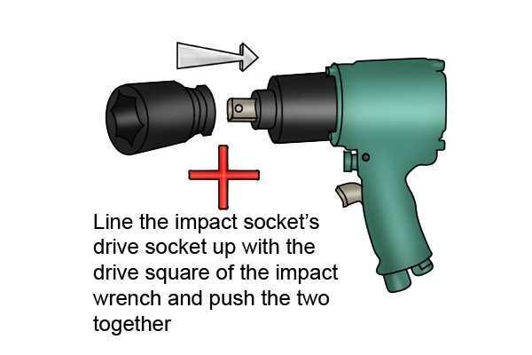 Line the impact sockets drive socket up with the drive square on the impact wrench and push the two together