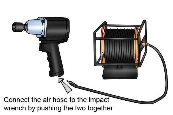 Connect the air hose to the air inlet of the pneumatic impact wrench