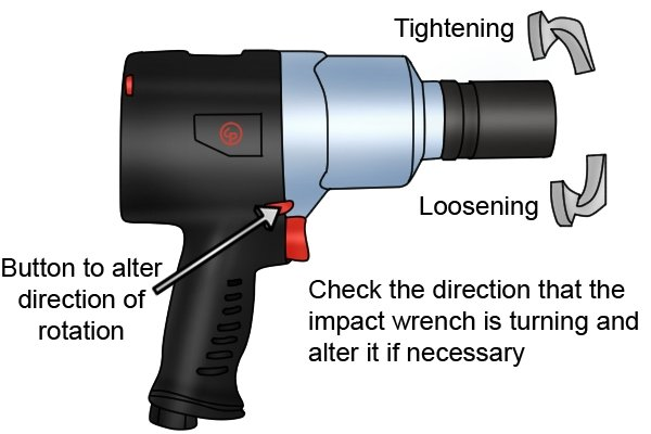 Check what direction the impact wrench is rotating the socket
