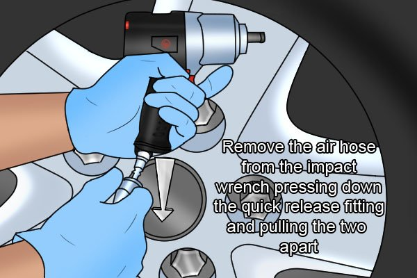 Remove the air hose from the impact wrench pressing down the quick release fitting and pulling the two apart