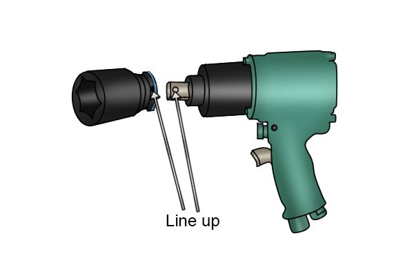 When lining the socket up with the impact wrench make sure the drive socket side hole lines up with the hole in the impact wrench's drive square.