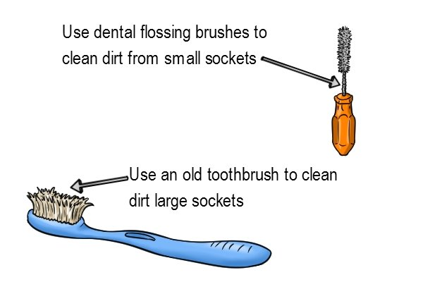 You should clean dirt from your sockets before putting them away, Use an old toothbrush to clean dirt from large sockets, Use dental flossing brushes to clean dirt from small sockets