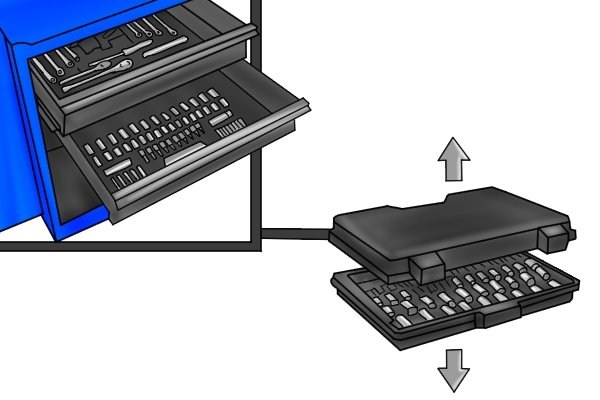 Some plastic tool cases are designed to be able to split into two sections and placed in larger tool chest draws