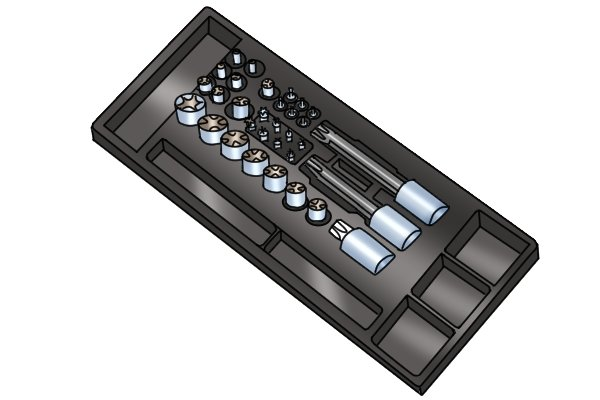 Vacuum forming is often used to make the plastic insert storage trays for sockets in tool boxes and chests