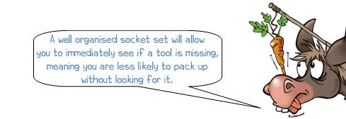 """Wonkee Donkee says: """"A well organised socket set will allow you to immediately see if a tool is missing, meaning you are less likely to pack up without looking for it."""""""