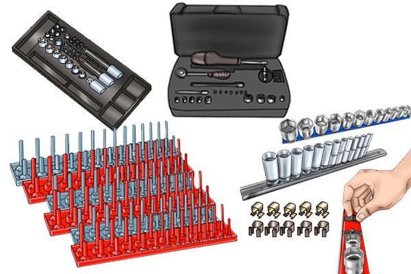 Four ways of organising your socket set are using; socket rails and clips, socket peg trays, foam inserts and plastic mouldings