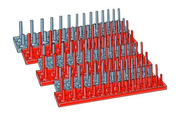Socket peg trays are made from hard plastic and have the size of each socket marked on the top of each peg