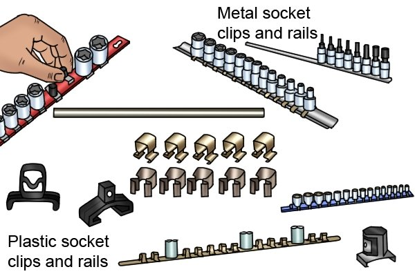 Metal socket clips and rails, Plastic socket clips and rails