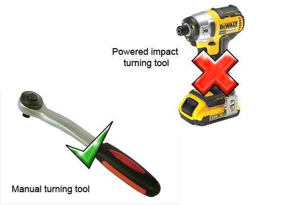 Some sockets are only suitable for use with manual turning tools and not powered impact turning tools