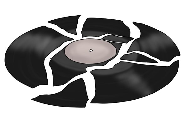 Vinyl records break easily as they are made of a brittle material