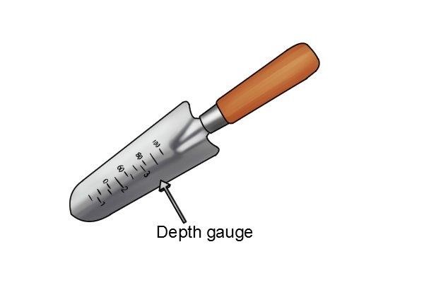 Depth gauge on a transplanting garden trowel