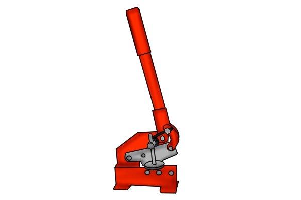 Metal cutting guillotine for cutting garden trowel blade