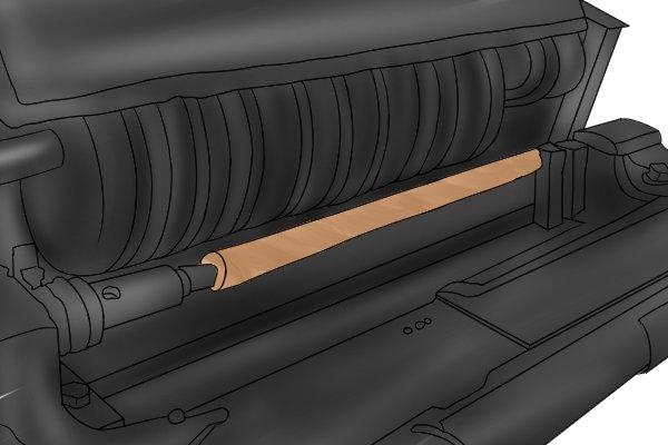 Defiance lathe creating a garden trowel wooden handle