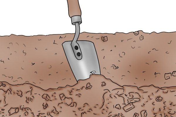 Digging hard soil with a traditional garden trowel