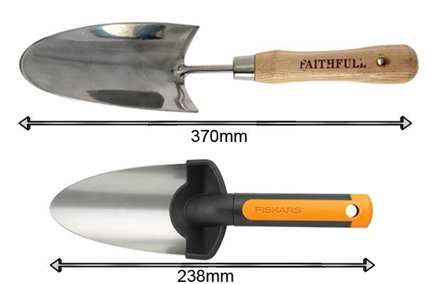 Traditional garden trowel length 238mm and 370mm