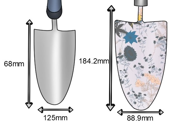 Traditional garden trowel blade sizes 68 x 125mm and 88.9 x 184.2mm