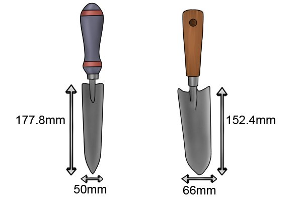 Transplanting garden trowel blade size 50x152.4mm and 66x177.8mm