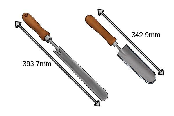 Dixter garden trowel lengths 342.9mm and 393.7mm