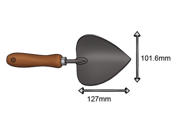 Standard potting garden trowel blade size 101.6mm x 127mm