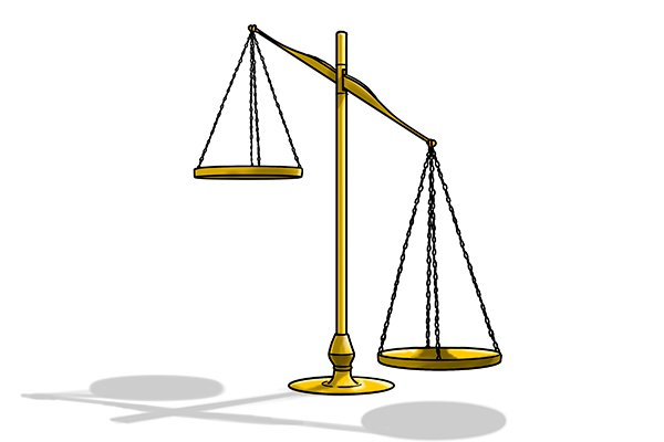 Unbalanced weighing scales