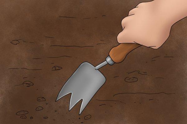 Tulip garden trowel digging a hole