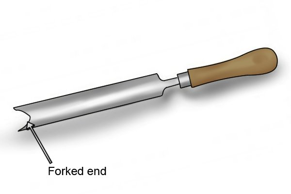 Forked end on a weeding garden trowel