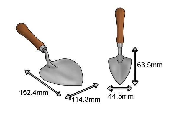 Planting garden trowel blade size 44.5x63.5mm and 114.3x152.4mm