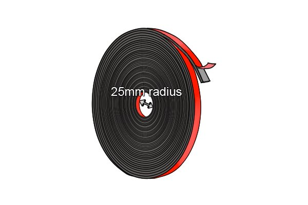 Flexible magnetic tape in a large role with a 25mm radius
