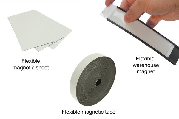 Types of flexible magnet: flexible magnetic sheet, flexible magnetic tape, and flexible warehouse magnets