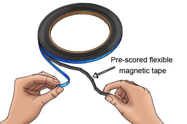 Pre-scored flexible magnetic tape