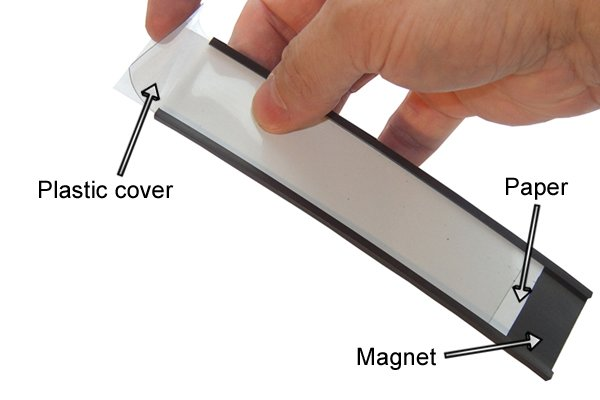 Parts of a flexible warehouse magnet: paper, plastic cover and magnet